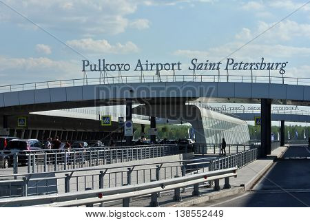 SAINT PETERSBURG, RUSSIA - MAY 10, 2016: New terminal of Pulkovo airport is exit to departure lounge