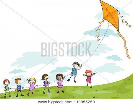 Abbildung der Kinder spielen mit einem Drachen