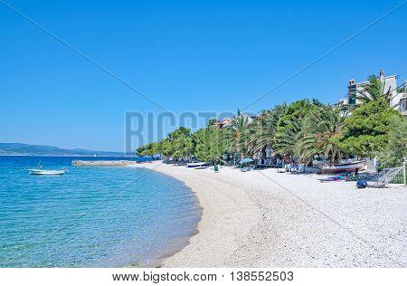 Beach and Village of Bratus near Brela at Makarska Riviera in Dalmatia,adriatic Sea,Croatia