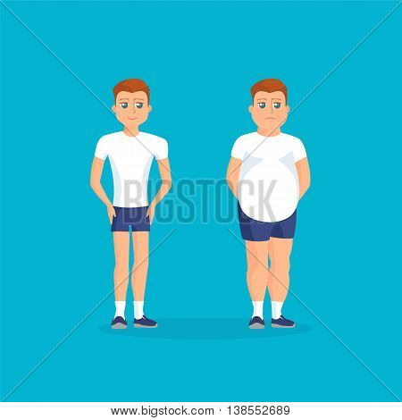 Man with fat abdomen and athletic man. Vector colorful illustration in flat style.