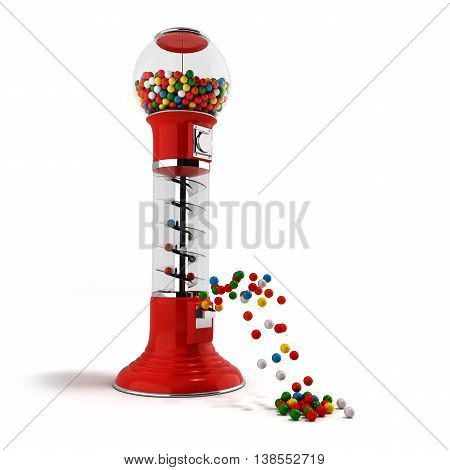 A Regular Red Vintage Gumball Dispenser Machine Made Of Glass And Reflective Plastic With Chrome Tri