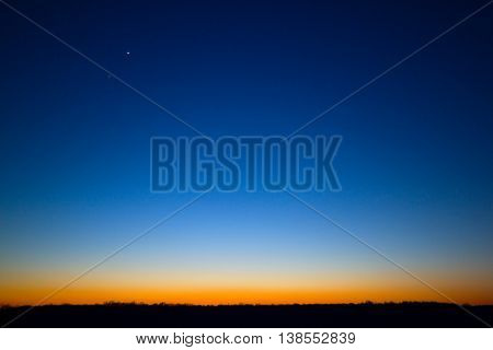Clear evening sky after sunset