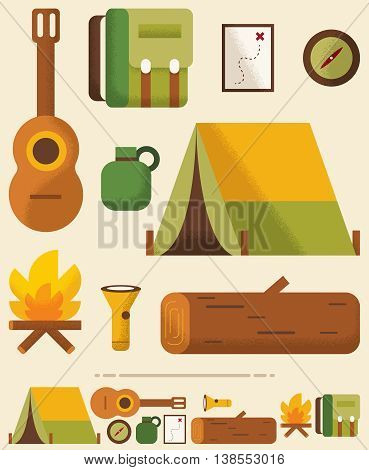 Set of camping objects in 2 versions.