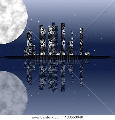 Texture cityscape illuminates the moon. Texture cityscape.