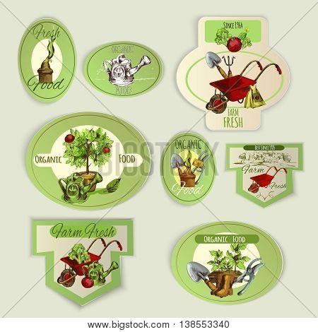 Vegetable gardening and organic food farm emblems set isolated vector illustration