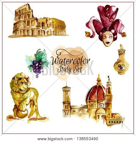 Watercolor italy set with culture and cuisine symbols isolated vector illustration