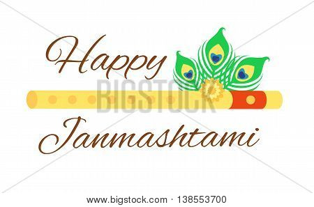 Happy Janmashtami card with Krishna flute isolated on white background. Horizontal composition. Art vector illustration.