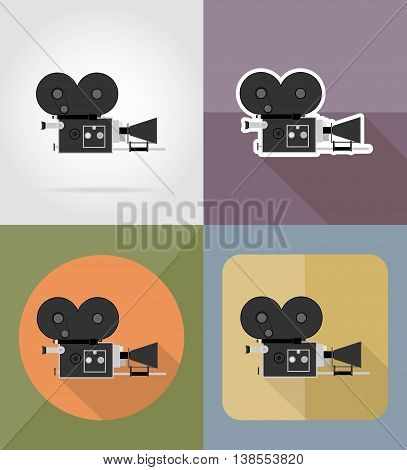 old movie camera flat icons vector illustration isolated on background