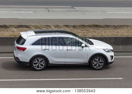 FRANKFURT GERMANY - JULY 12 2016: KIA Sorento large family SUV on the highway in Germany
