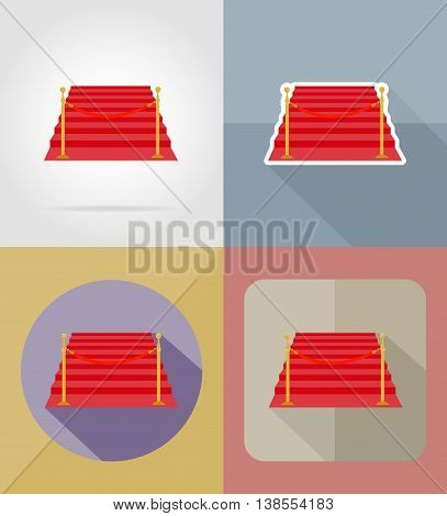 red carpet flat icons vector illustration isolated on background