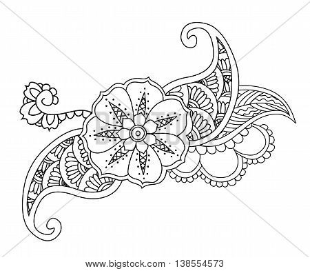 Mendie floral tattoo design on white background. Vector illustration.