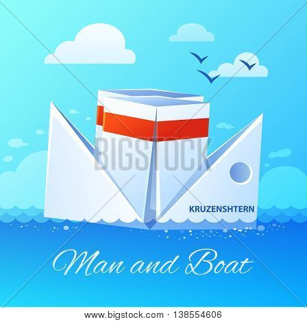 Origami folded white paper boat floating in blue ocean water waves against clouded sky background poster vector illustration