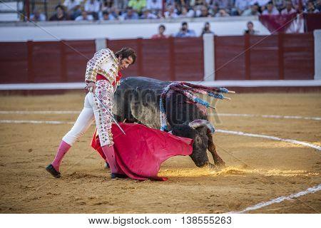 Pozoblanco Spain - September 24 2010: The Spanish Bullfighter Juan Jose Padilla bullfighting with the crutch in the Bullring of Pozoblanco Spain