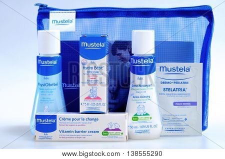 KIEV UKRAINE - August 03 2011. Illustrative editorial photo - Baby cosmetics isolated on white. A set of infant natural cosmetics to bring along on the road - Mustela