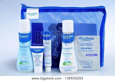 KIEV UKRAINE - August 03 2011. Illustrative editorial photo - Baby cosmetics isolated on white. A set of infant natural cosmetics (to bring along on the road) - Mustela