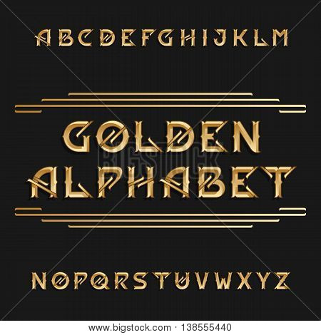 Vintage alphabet. Ornate type letters in golden color. Vector font for labels, headlines, posters, flyers etc.