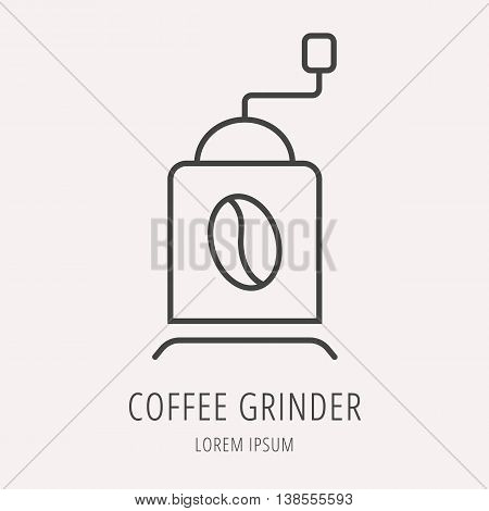 logo or label Coffee. Line style logotype template with coffee grinder. Easy to use business template. Vector abstract logo or emblem.