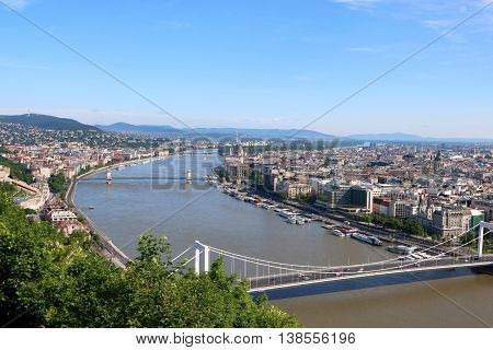 Aerial view of Budapest with Hungarian Parliament Building Chain Bridge and Elizabeth Bridge in sight