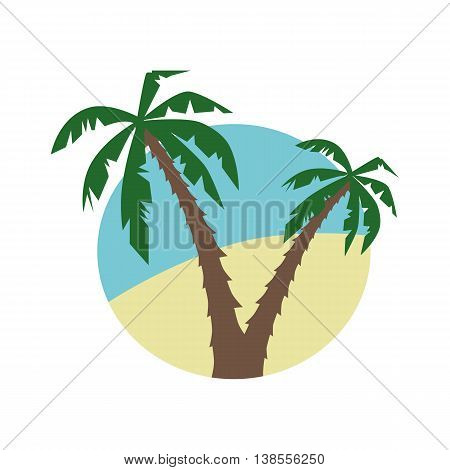Vector flat icon with palm trees and the beach.