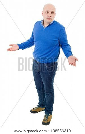 young casual man waiting full body in a white background