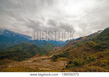 The Rice field terraces. Sapa Vietnam. Winter