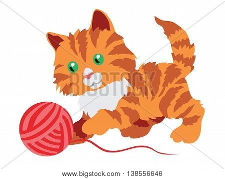 Cute orange kitten playing with a clew isolated on white background. Vector illustration.