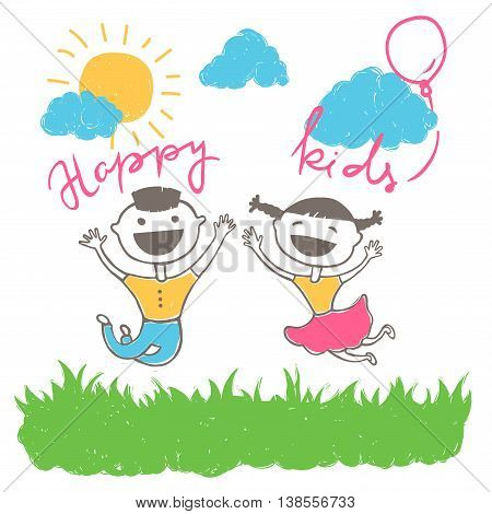 Vector drawing of happy kids jumping outside and laughing, scene with sun, clouds and grass, cartoon style illustration