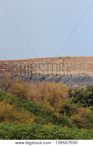 COLLEFERRO ITALY - JULY 10 2016: Colle Fagiolara landfill site in the municipality of Colleferro (Province of Rome)