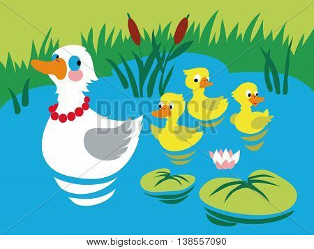Mother duck with three baby ducks in the pond. Vector illustration.