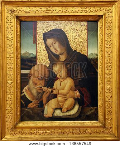 ZAGREB, CROATIA - DECEMBER 08: Bartolomeo Montagna: Madonna with the Child, Old Masters Collection, Croatian Academy of Sciences, December 08, 2014 in Zagreb, Croatia