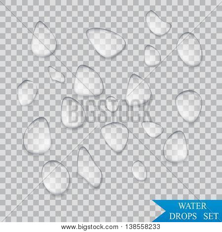 Pure clear water drops Realistic isolated set . Vector illustration