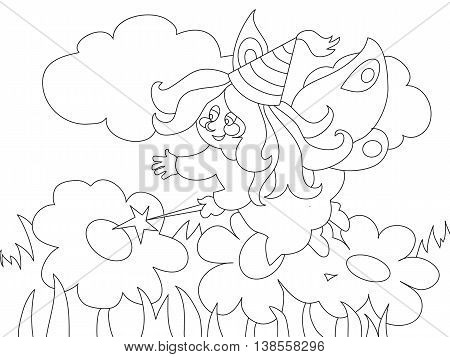 Beautiful cartoon fairy with magic wand on the meadow. Can be used for coloring book. Vector illustration.