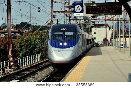 Wilmington Delaware - October 20 2015: AMTRAK's Acela Train #2160 arriving on Track 2 at the Wilmington Train Station
