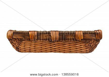 Side view of a rectangular wooden empty basket isolated on white background