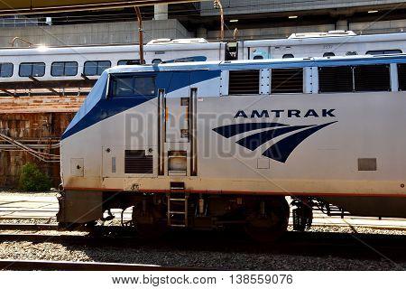 Washington DC - April 17 2016: Amtrak diesel locomotive on a side track at Union Station