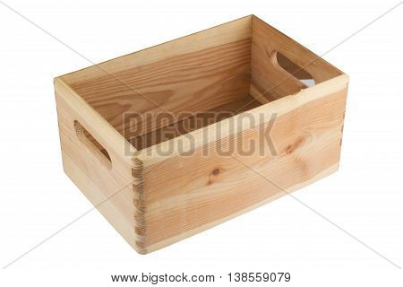 side view of a wood empty crate with handles isolated on white background