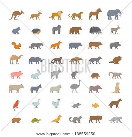 Flat set of silhouettes of australian african american and other animals. Vector icon monkey beaver pig kiwi lemur cow chicken and others. Open path.