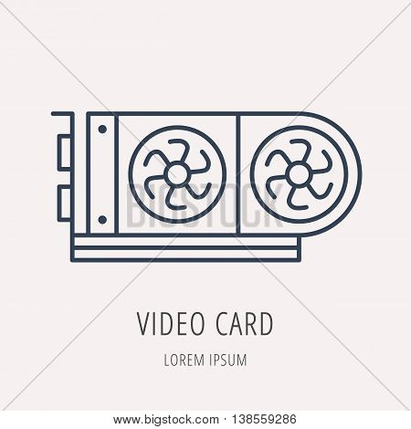 logo or label PC upgrading. Line style logotype template with video card. Easy to use business template. Vector abstract emblem.