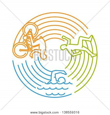 Vector line design concept for triathlon. Linear creative style web banner. Open path.