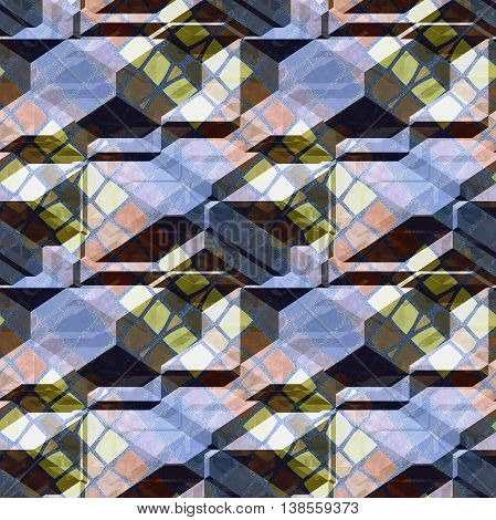 Abstract seamless relief pattern of mosaic stone blocks. Blue, pink and yellow 3d pattern with checkered texture