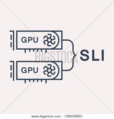 logo or label PC upgrading. Line style logotype template with SLI. Easy to use business template. Vector abstract emblem.