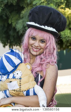 SELARGIUS, ITALY - October 19, 2014: The enchanted garden in Cosplay - 2nd edition - Sardinia - portrait of a beautiful smiling girl in cosplay costume