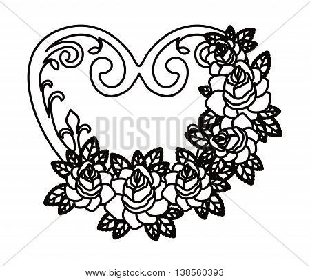 heart and flowers tatto isolated icon design, vector illustration  graphic