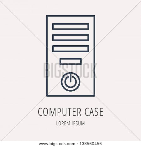 logo or label PC upgrading. Line style logotype template with computer case. Easy to use business template. Vector abstract emblem.