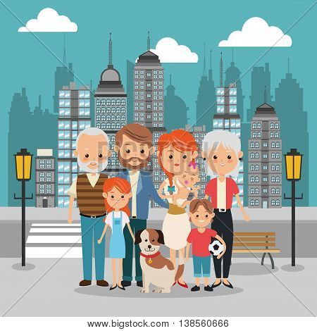 Family cartoon concept represented by parents, kids, grandparents and dog icon over city landscape.  Colorfull illustration
