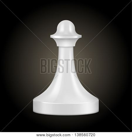 Chess piece white pawn isolated look like realistic vector illustration