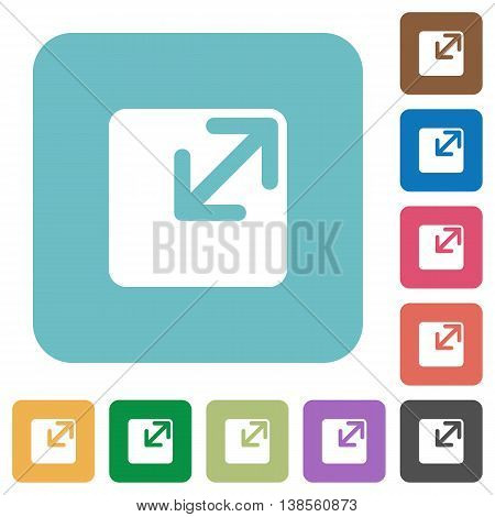 Flat resize window symbol icons on rounded square color backgrounds.