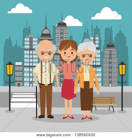 Family cartoon concept represented by grandparents and girl icon over city landscape.  Colorfull illustration