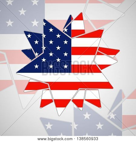 The abstract star with american flag, illustration