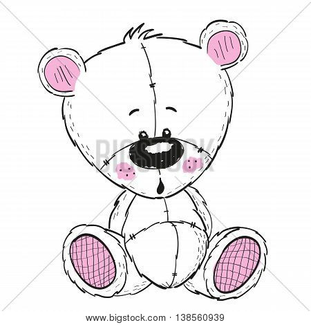 Drawing Teddy bear isolated on a white background